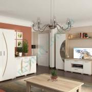 Гостиная Ольвия-Нова — Белый+Дуб сонома, шкаф, комод