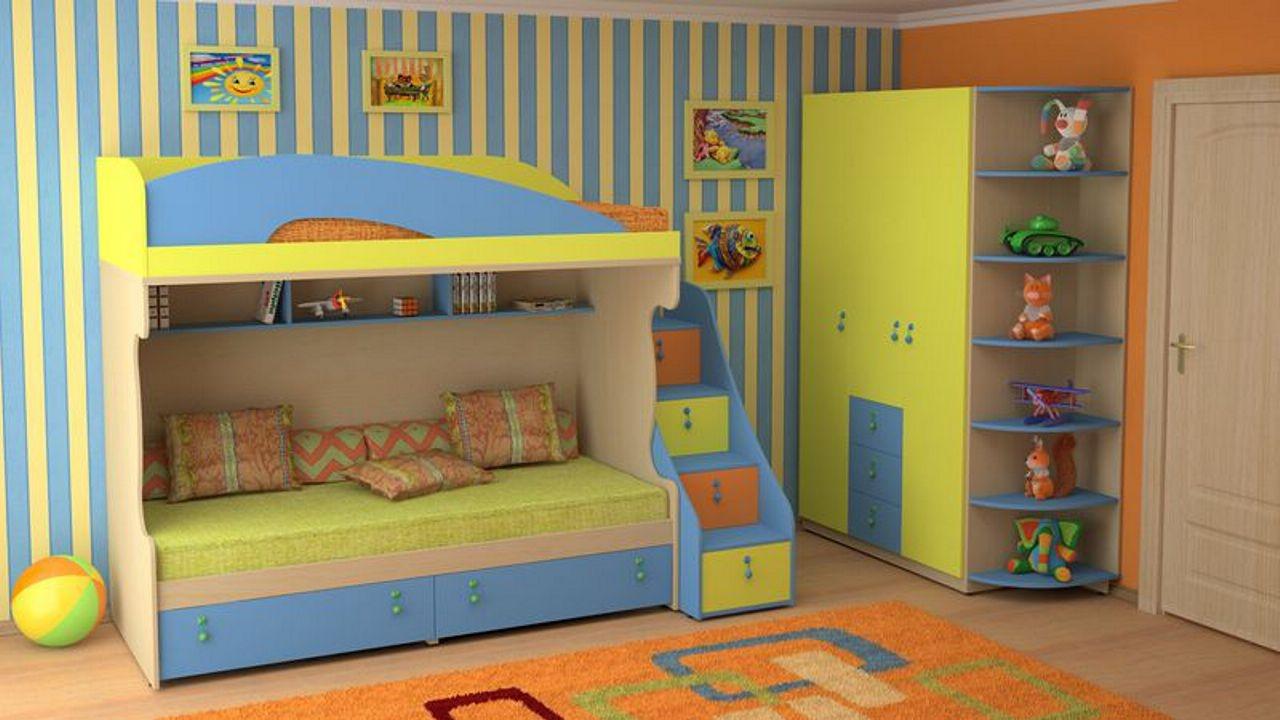 Двухъярусная кровать, с дополнительными деталями