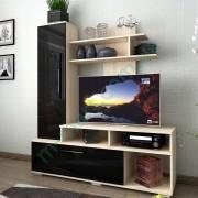 Тумба РТВ Лагуна Черный глянец + Бку айконик