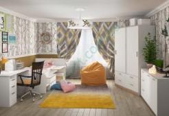 Модульная детская комната Симпл - стол Студент, кровать Бен, шкаф Мика, комод Ларс