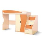 Детская Савана (Оранж / ваниль) кровать-горка + лестница