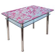 Стол из стекла КС-1 покраска рисунок 52 розовый