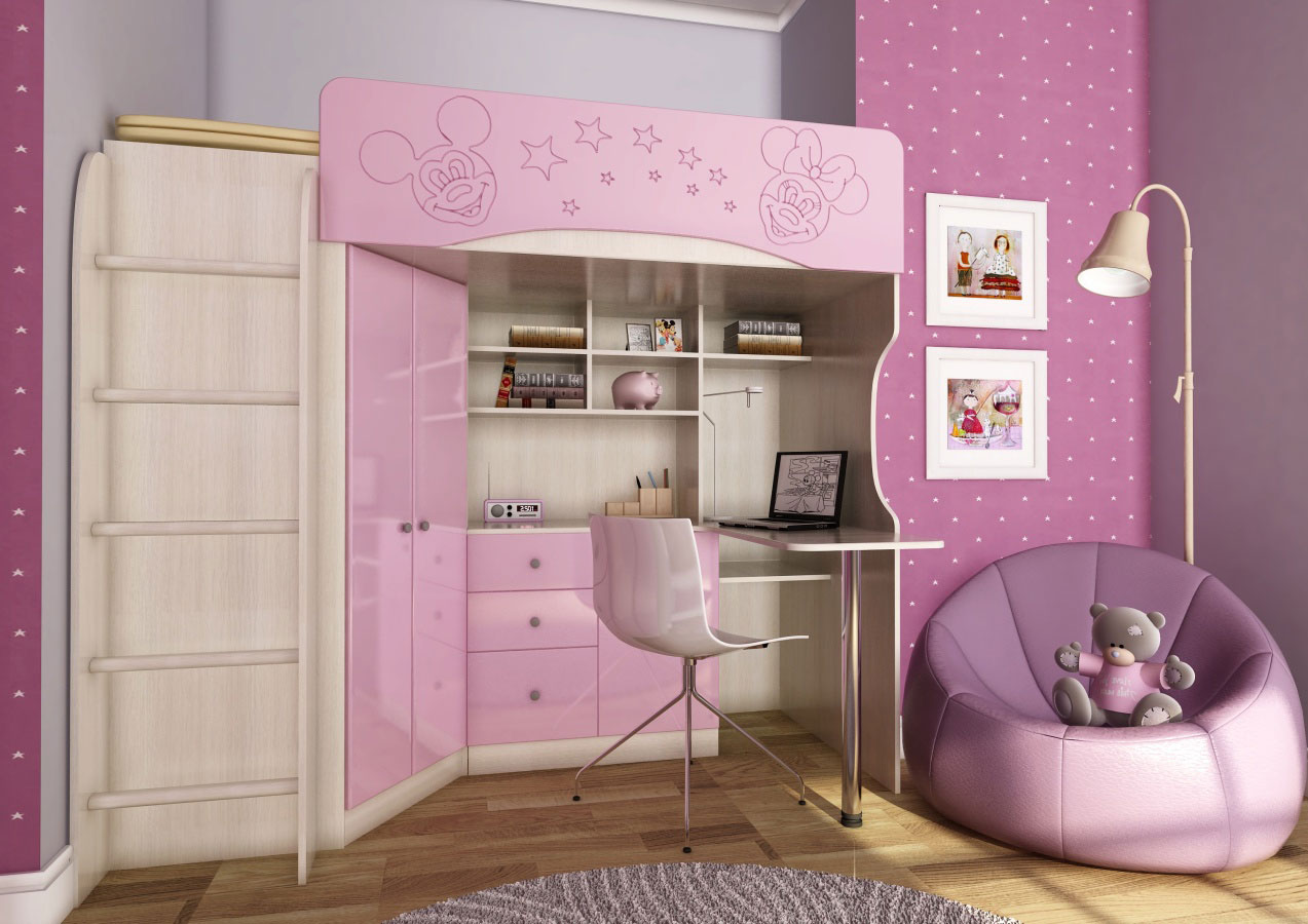Кровать-чердак, для девочки