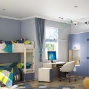 Модульная детская Домино – Фиолет синий+Бук айконик