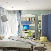 Модульная детская Домино — Фиолет синий+Дуб крафт белый