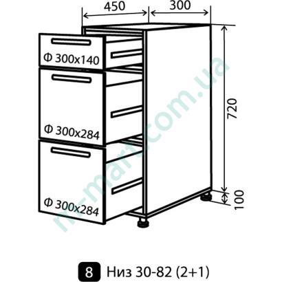 Кухня Мода Низ-8 (300-820) ящики (1+2)
